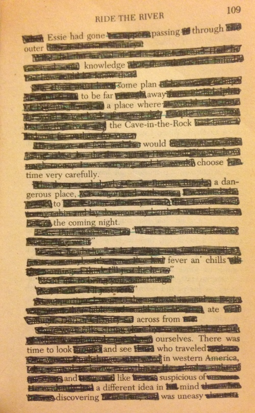 "An attempt at an erasure poem from Louis L'Amour's ""Ride the River"""